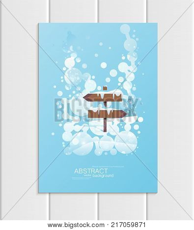 Stock vector brochure A5 or A4 format design Christmas template, abstract circles, winter landscape New Year 2018 with road sign in snow glow full moon night background for printed material