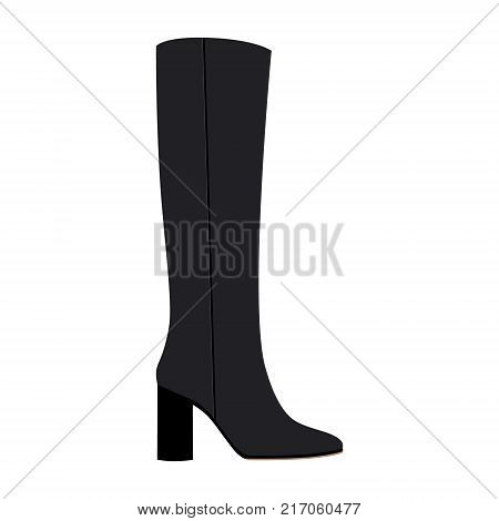 Vector illustration fashion black woman high knee boots with high heel isolated on white background