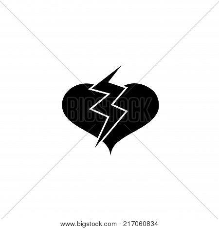 contour heart with thunder symbol lobe design vector illustration