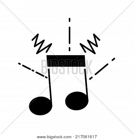 contour musical note sign to rhythm sound vector illustration