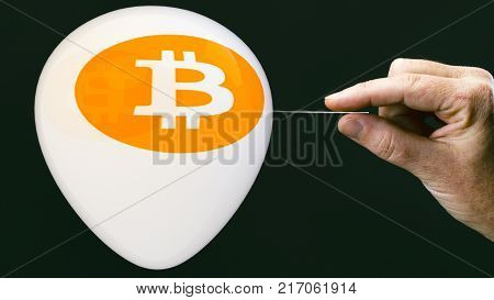 Bitcoins - Bit Coin Btc The New Virtual Money On Balloon With Needle In Hand Before Burst