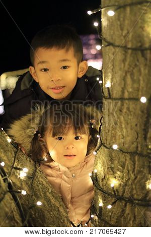 Christmas Illumination And Japanese Brother And Sister (8 Years Old Boy And 3 Years Old Girl)