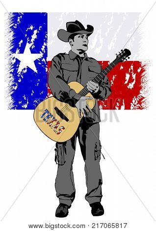 Cowboy in hat with guitar on a white background