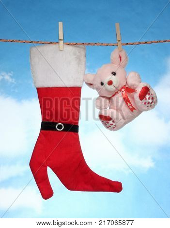 happy Merry X mas Hanging christmas decoration Christmas socks and doll.