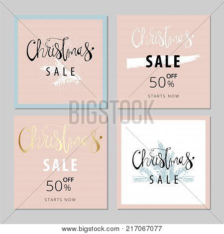 Set of Abstract Hand Drawn Universal Christmas Sale Brush Cards with Lettering and pine twigs. Pastel and gold. Vector graphic background