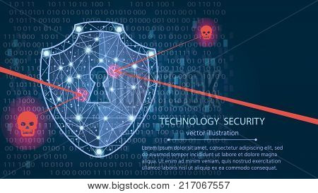 Cyber security concept: Shield on digital data background. Illustrates cyber data security or information privacy idea. Blue abstract hi speed internet technology.Protection concept.vector illustration