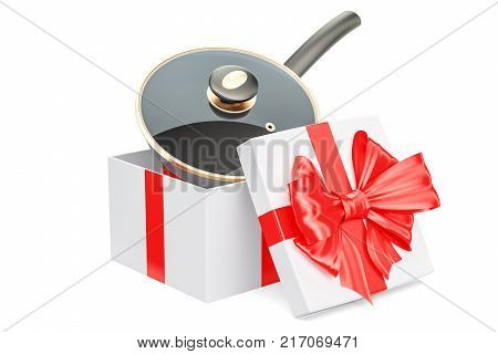 Frypan inside gift box gift concept. 3D rendering isolated on white background