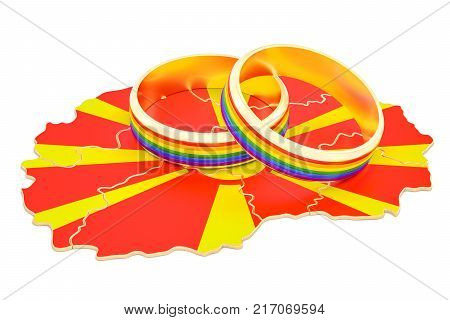 Macedonian map with LGBT rainbow rings 3D rendering