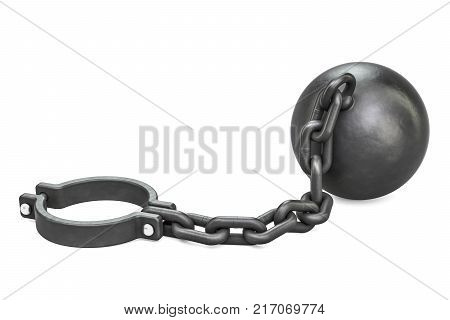 Prison shackle with chain 3D rendering isolated on white background