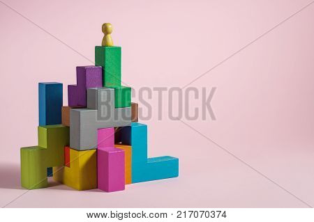 Success building concept. Personal development personal and career growth progress and potential. People standing on wood block as step stair. Success business management growth business concept.