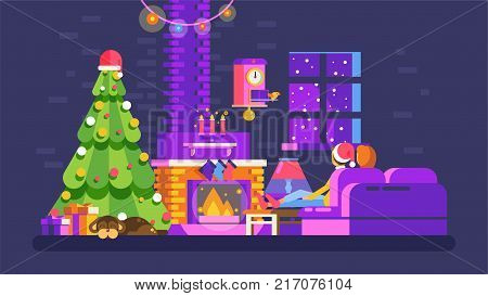 Stock vector illustration cozy Christmas evening home interior, lovers sit on couch in front of fireplace in New Year Eve festive night, dog near Xmas tree for Motion Design flat style dark background