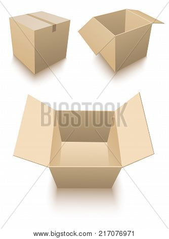 Three cardboard boxes standing on the floor with a shadow. Stock Vector illustration
