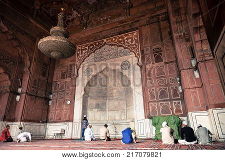 NEW DELHI INDIA - MARCH 18 2016: Wide angle picture of Jama Masjid the great mosque landmark of New Delhi located in India.