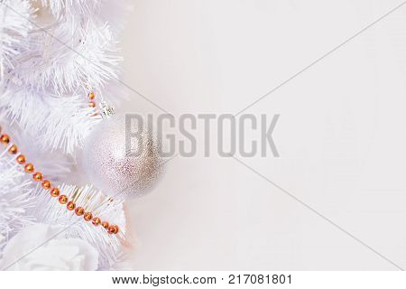 Fairy new year background with snow. New year gift card. New year pine tree in snow. Beautiful new year card with eve tree. The trunks and branches of winter trees in snow. New year festive atmosphere