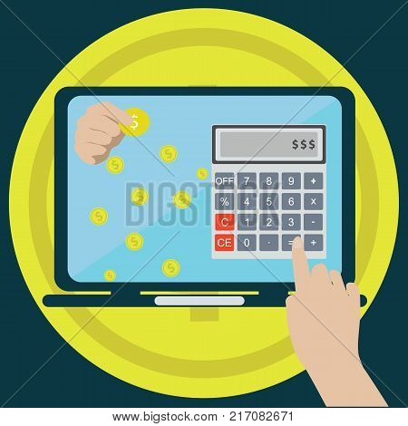 Paying bills hand holding bills vector.Calculator icon and vector.