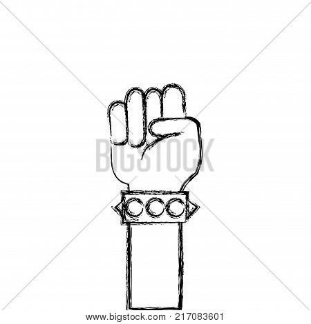 figure hand with bracelet and oppose gesture symbol vector illustration
