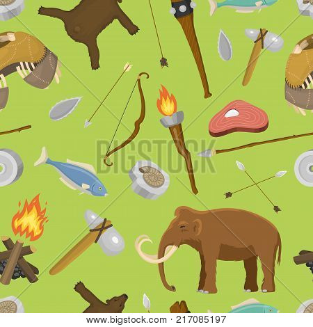 Stone age aboriginal primeval historic hunting primitive stoneage caveman people weapon and house life symbols vector illustration seamless pattern background.