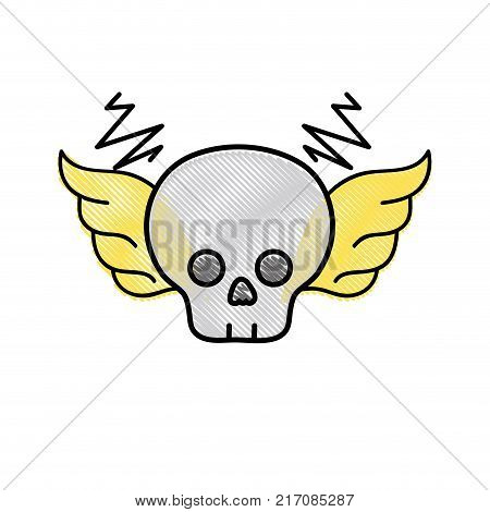 grated skull with wings rock art symbol vector illustration