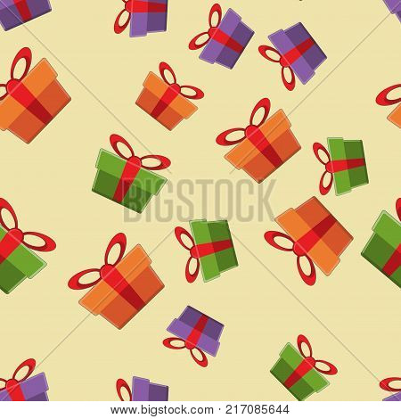 Pattern gift box for fabric print, wrapping packag gift box paper. Vector gift box illustration stock.