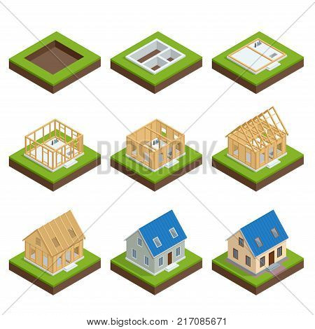 Isometric set stage-by-stage construction of a blockhouse. House building process. Foundation pouring, construction of walls, roof installation and landscape design vector illustration