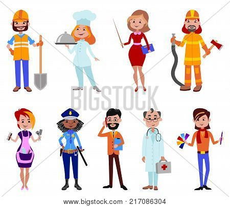 People different professions illustration success teamwork doctor, policeman, fireman and builder human work lifestyle standing successful person people characters in uniform.