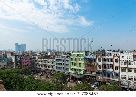 NEW DELHI INDIA - MARCH 18 2016: Picture from Jama Masjid of the city skyline of New Delhi located in India.
