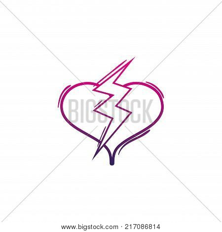 color line heart with thunder symbol lobe design vector illustration