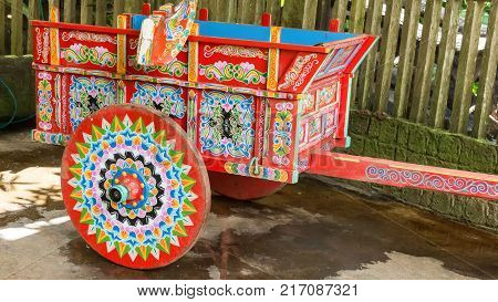 typical hand painted agricultural wagon Costa Rica