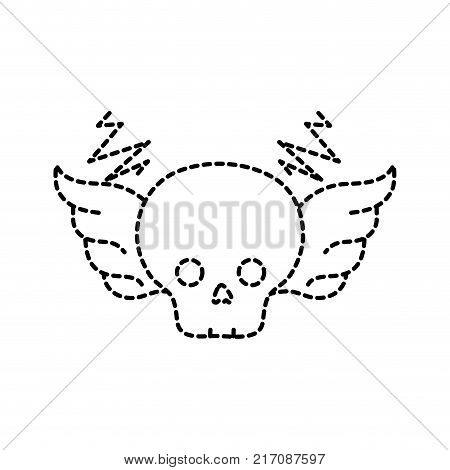 dotted shape skull with wings rock art symbol vector illustration