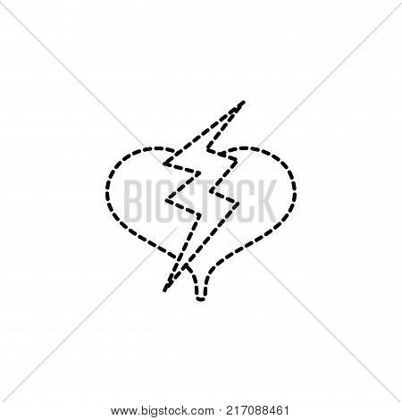 dotted shape heart with thunder symbol lobe design vector illustration
