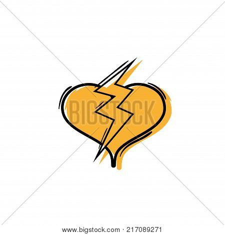 color heart with thunder symbol lobe design vector illustration