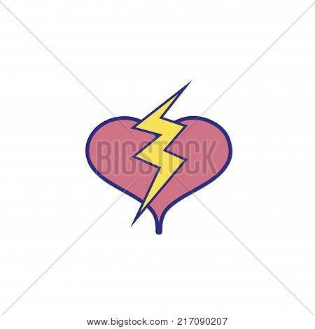 full color heart with thunder symbol lobe design vector illustration
