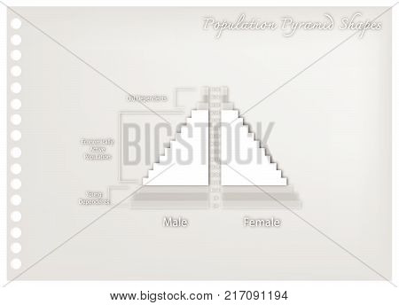 Population and Demography, Illustration Paper Art Craft of Detail of Population Pyramids Chart or Age Structure Graph.