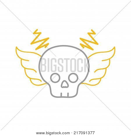 color line skull with wings rock art symbol vector illustration