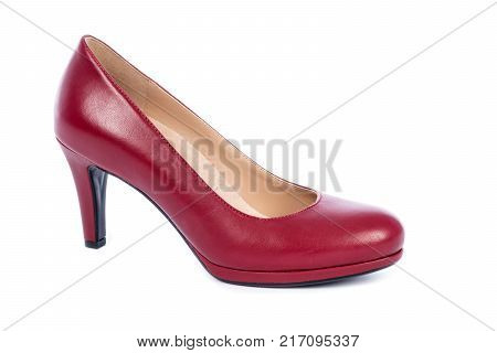 Women's Red High Heel Pump Shoe Isolated on White