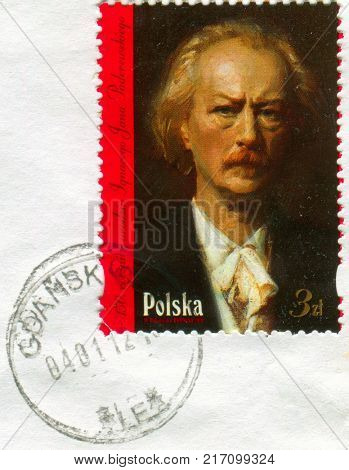 GOMEL, BELARUS, 30 NOVEMBER 2017, Stamp printed in Poland shows image of the Ignacy Jan Paderewski, was a Polish pianist and composer, politician, statesman and spokesman, circa 2017.