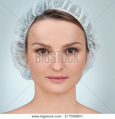 Portrait of female face. Plastic surgery. Anti-aging treatment and face lift.