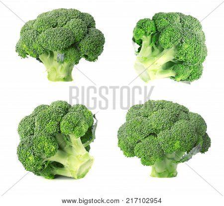 Broccoli isolated on white background. Fresh broccoli isolated on white background. Closeup.