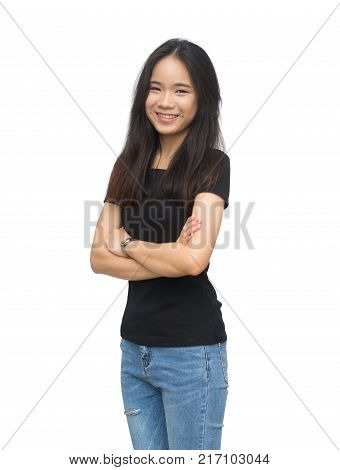 Portrait of a beautiful asian young girl isolated on white background with clipping path