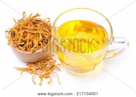 Dried Cordyceps Militaris Mushroom With Cup Isolated On White Background