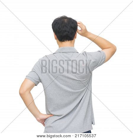 Back view of young casual man portrait isolated on white studio background. with clipping path