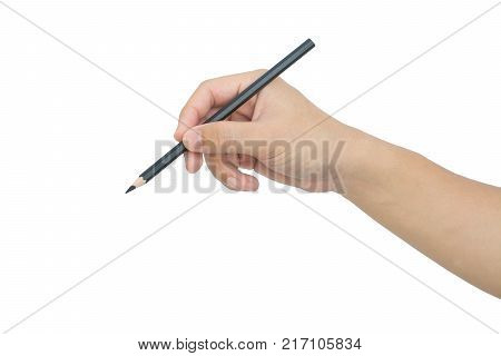 man's hand with the pencil isolated on white background with clipping path