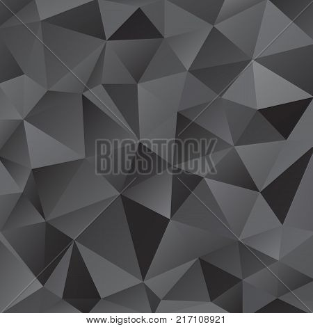 Black shiny triangle background design. Geometric background in Origami style with gradient. Design for your background, cover, poster, banner, flyer, party invitation card, brochure etc