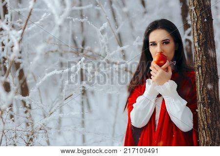 Pretty Princess Eating a Magic Apple in Fantasy Ice Wonder Land Landscape