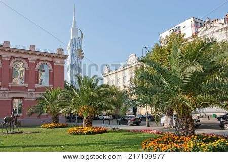 BATUMI, GEORGIA -AUGUST 14, 2013: View of Eras Moedani square in Batumi, Georgia. Batumi is the capital of the Autonomous Republic of Adjara.