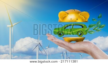 car made of green leaf in gold piggy bank being cut in hand on wind turbine with blue sky background. Eco power Concept. 3D rendering