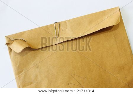 Brown Envelope On A White Background.