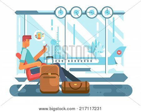 Passenger waiting at airport of departure. travel plane and wait in terminal airport, transportation flight, vector illustration