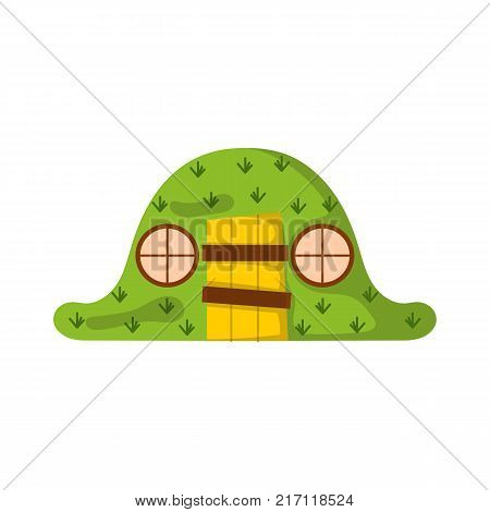 Vector illustration with cartoon green magic forest house. Vector home for elfs or magical creatures. Children book cover cartoon illustration. New Zealand green mysterious landscape icon
