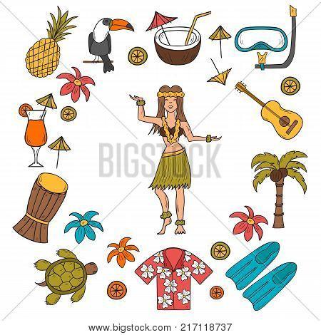 Vector Hand Drawn Hawaii Icons